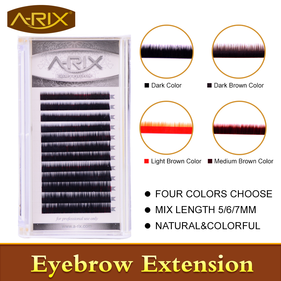 New Arrival Eyebrow Extension 1pc/lot Faux Mink Hair Professional Makeup Tools Mix Length 5/6/7mm 0.10/0.15 Dark&Brown Color