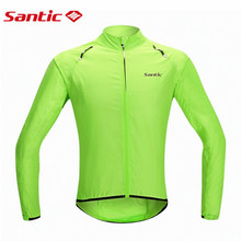 Santic Men's Cycling Windcoat Wind Coat Bicycle Jerseys Bike Raincoat Windproof Biker Waterproof Skin Coat for Man Green S-XXXL