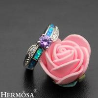 Romantic Women Precious Stone Jewelry Mystic Fire Australian Opal 925 Sterling Silver Ring Size 7 DF60