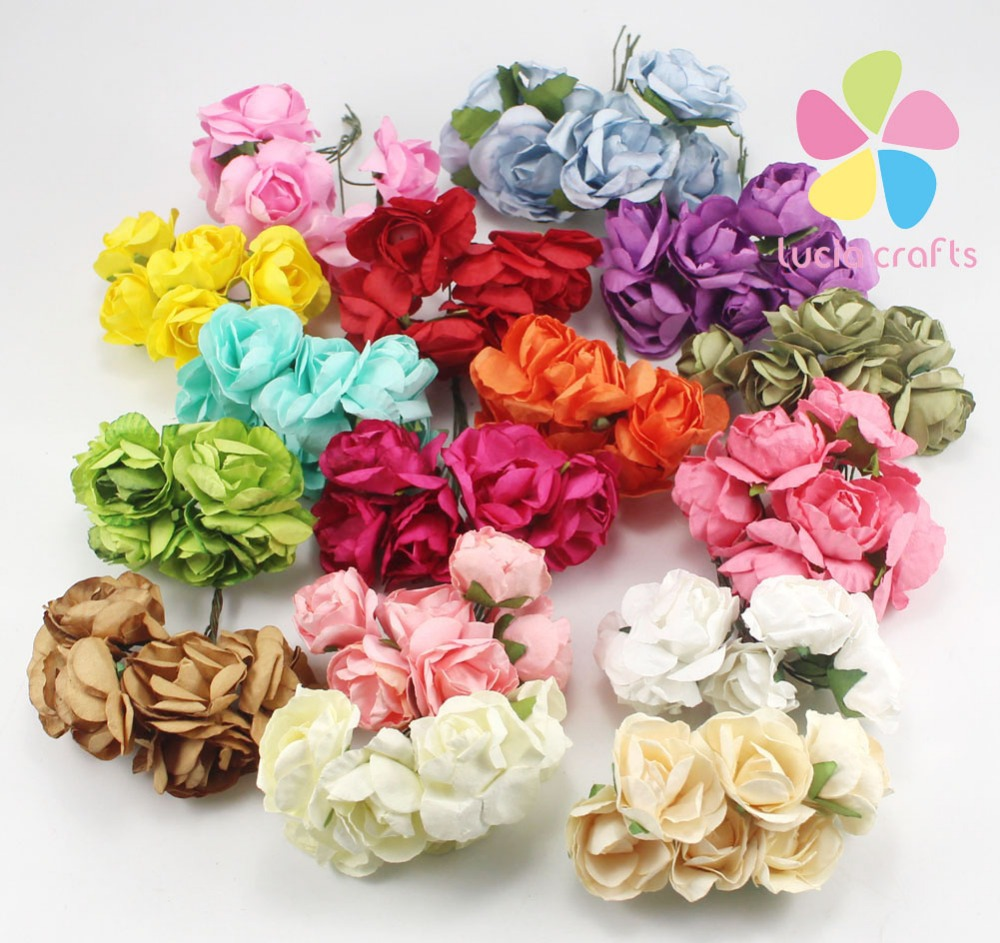 Lucia crafts Mulberry Paper Rose Flower Bouquet wire stem wedding flower D027020001