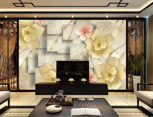 customize any size 3d mural wallpaper embossed flowers 3d wallpaper living room tv backdrop photo wallpaper - What Size Tv For Living Room