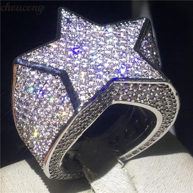 Grosse étoile mâle Hiphop anneau or blanc rempli Micro Pave 500 pièces AAAAA Cz fête anniversaire bande anneaux pour hommes mode Rock bijoux