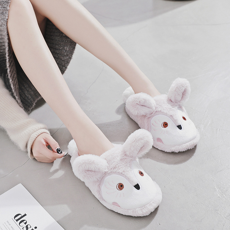 Zapatos Mujer Lovely Animal Prints Naked Pink Ladies House Slippers 2018 Winter Warm Soft Plush Fox Style Women Home Shoes Woman 2017 totoro plush slippers with leaf pantoufle femme women shoes woman house animal warm big animal woman funny adult slippers page 2
