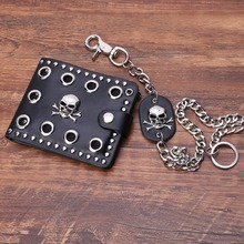 Vintage Men Short Purse Boys Goth Skull Head Cross  Leather Biker Hasp Wallet with Long Key Chain 48cm