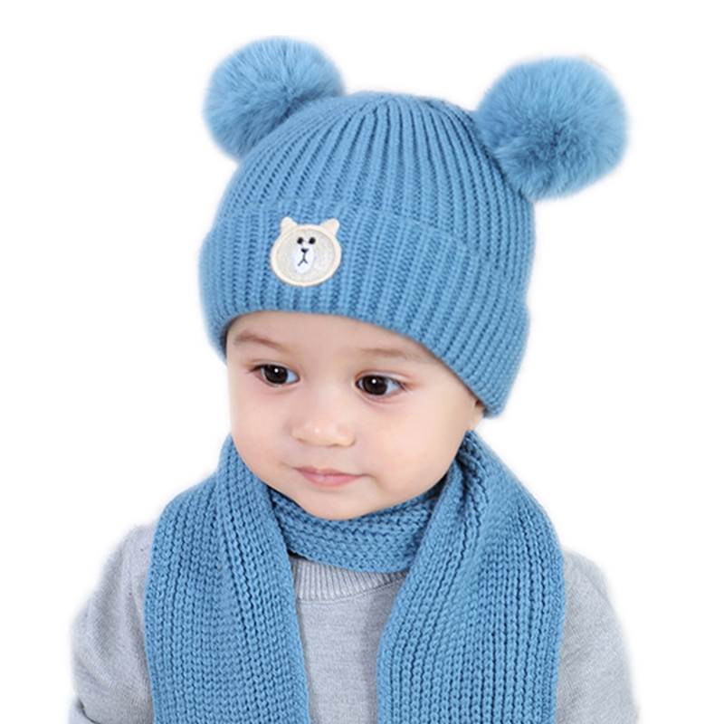 Spring Cartoon Children Hat Faux Fur Ball Girls Caps Cotton Newborn Baby Beanies Winter Warm Hat For Kids Head Cover Hats Accessories