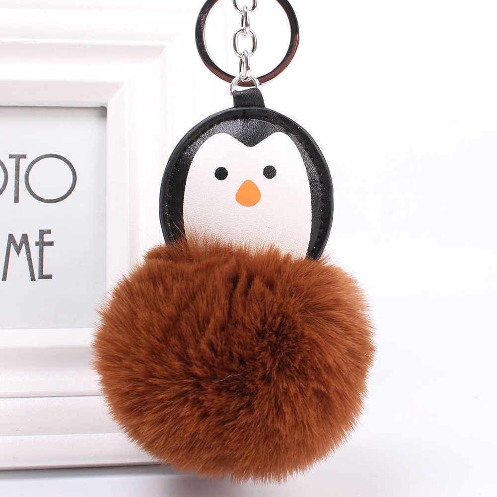 Pinguim Adorável Fluffy Bola Anel Chave das mulheres Chaveiro Bag Pingente Ornamento