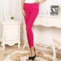 Otoño de las mujeres Dulces de Colores Tejidas Pantalones Lápiz Pantalones Mujer Pantalones Capri Elástico de Cintura Alta de Nueve Tejido