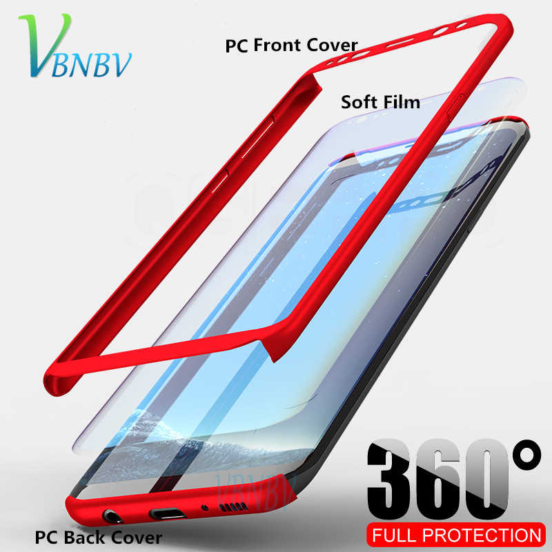VBNBV 360 Full Cover phone case For samsung Galaxy Note 8 9 PC Hard Protective Cover For Samsung S10 Plus S10E S8 S9 S7 Edge