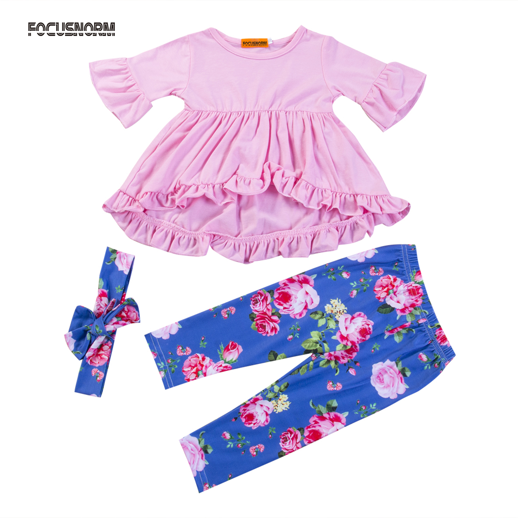 3pcs Infant Baby Girls Clothes Set Ruffle Tunic Top Shirt + Floral Long Pants + Headband Fashion Outfits 3pcs set newborn infant baby boy girl clothes 2017 summer short sleeve leopard floral romper bodysuit headband shoes outfits