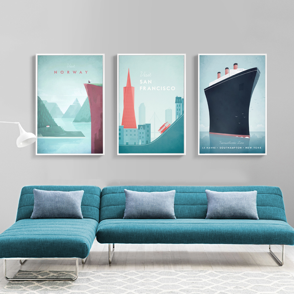 Modern Norway New York Zermatt City Travel Prints And Posters Canvas Painting Wall Pictures For Bedroom Home Salon Decoration