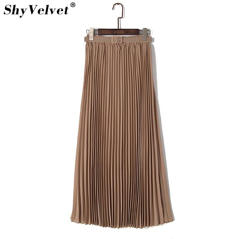 Chiffon Pleated Skirt Summer New Women Long Maxi Skirts Tutu Elastic Waist Belt Bohemian Solid Femme Jupe Blue Khaki Purple