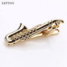 Фотография High Quality Gold Color Plated Musical Sax Tie Bar for Mens Suit Clasp Clip Business Wedding Lepton Brand Tie Clips & Cufflinks