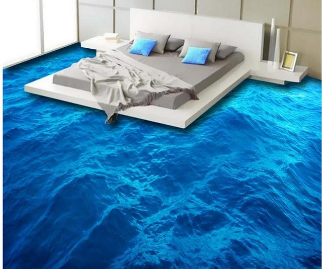 Garage Floor Water Barrier Flooring Home Decorating: 3d Floor Painting Wallpaper Sea Surface Wave Mural 3D Floor Pvc Self-adhesive Wallpaper 3d