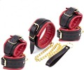 Black&Red Sponge Padded PU Leather Bondage Restraint Kit,Hands Cuffs & Ankle Cuffs & Neck Collar Kits,BDSM Sex Toys For Couple