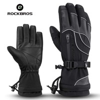 ROCKBROS Cycling Gloves Winter Thermal Skiing Snowboard Gloves Snow Bike Bicycle Ski Gloves Windproof Riding Hiking