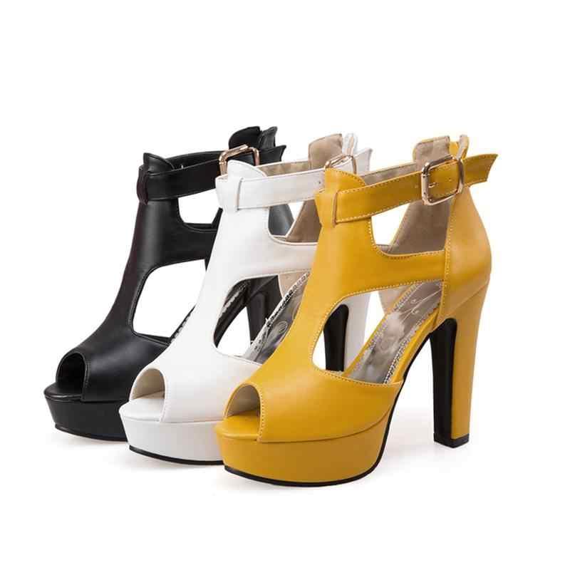 REAVE KEDI Kadın Pompaları Yüksek Topuklu platform ayakkabılar Peep Toe Toka Bahar Başak Topuklu Bayanlar parti ayakkabıları Sarı Boyutu 34-43 a1102