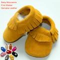 Детские Мокасины натуральная кожа ребенка сначала ходунки малыша обувь для девочек кисточки корова замши новорожденных мальчиков матовая кожа мягкой подошвой