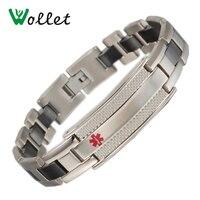 Wollet Biżuteria Alert Logo Bransoletka Bangle dla Kobiet Mężczyzn Czarny Ceramiczny Zdrowie Medycyna Alert Bransoletka Magnetyczna Ze Stali Nierdzewnej