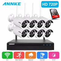 ANNKE 720 P HD Беспроводной CCTV Системы 8ch HD Wi Fi NVR комплект Открытый ИК Ночное видение IP Wi Fi Камера безопасности Системы комплект видеонаблюдения