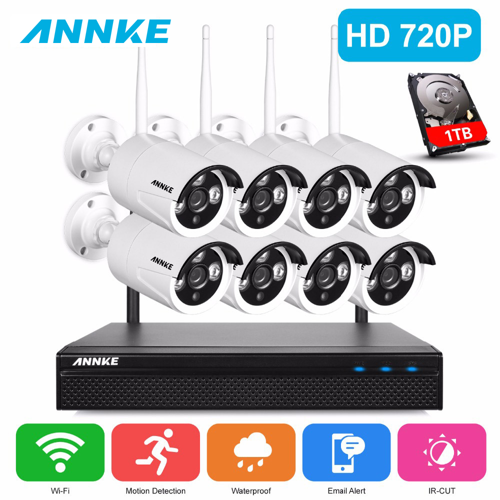 ANNKE 720P HD Wireless CCTV System 8ch HD wi-fi NVR kit Outdoor IR Night Vision IP Wifi Camera Security System Surveillance Kit escam wnk803 720p cctv system 8ch hd wireless nvr kit outdoor ir night vision ip wifi camera security system surveillance
