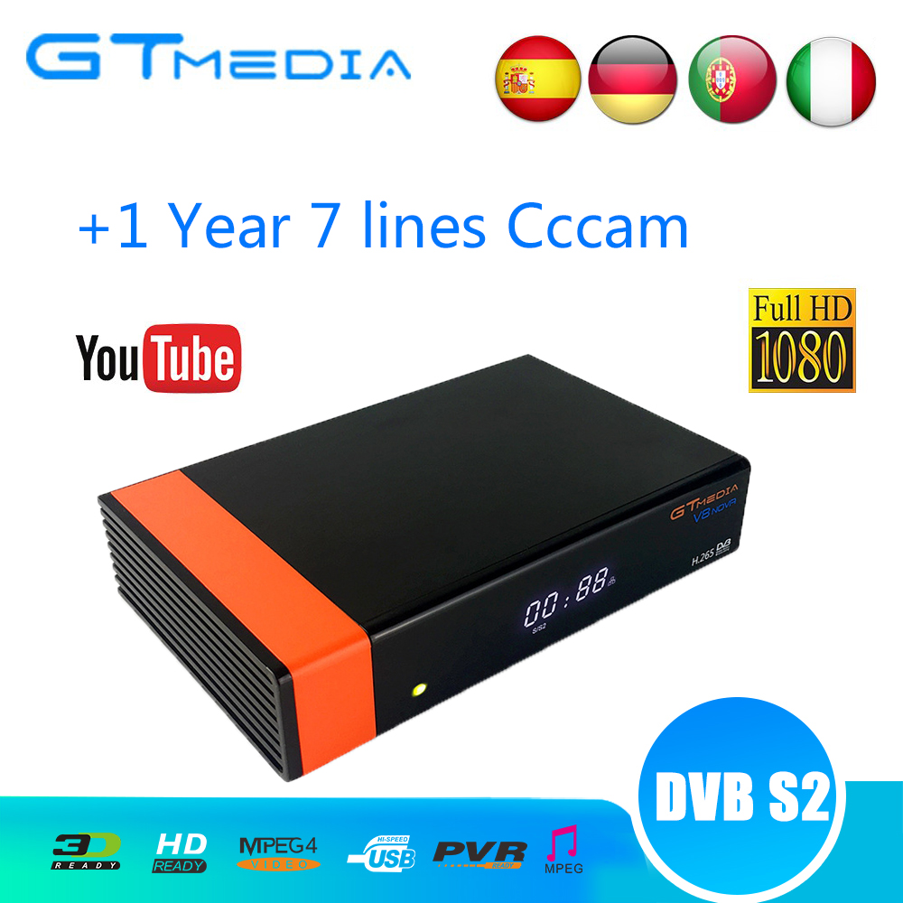 V8 Nova Satellite Receiver Gtmedia V8 NOVA HD 1080P Europe Clines Cccam For 1 Year Spain Built Wifi V9 Super Power By V8 Super