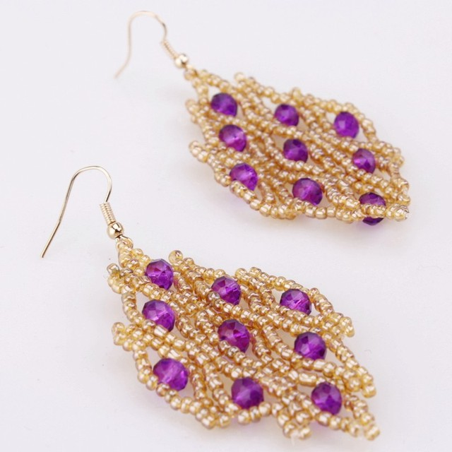 Dudo Jewelry Handmade Earrings African Beaded Bridal Jewelry Gold and Purple Party Costume Jewellery Earrings For Women 2019