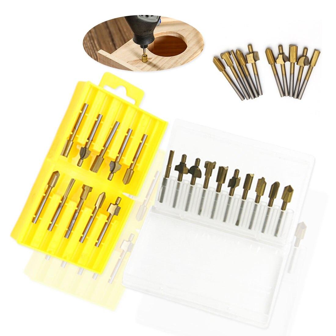 10 Pc Router Power Werkzeuge Titan-überzogene Kunststoff Boxed Gold Hhigh-geschwindigkeit Stahl Holzbearbeitung Trimmen Messer