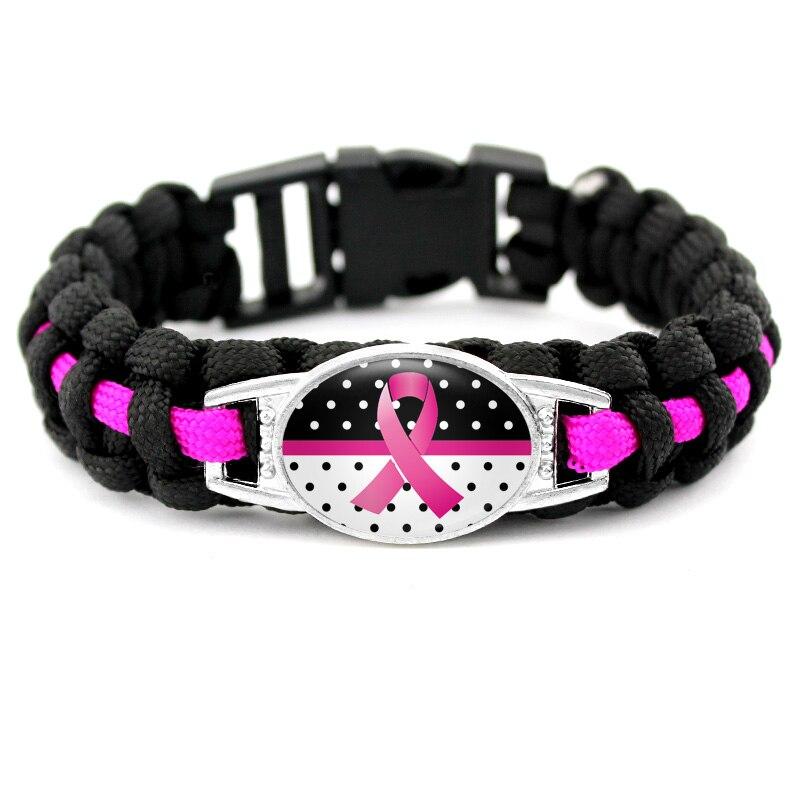 Pink Ribbon Cancer Bracelets Breast Cancer Awareness Survival Paracord Charm Bracelets 18*25mm Glass Cabochon Men Women Jewelry