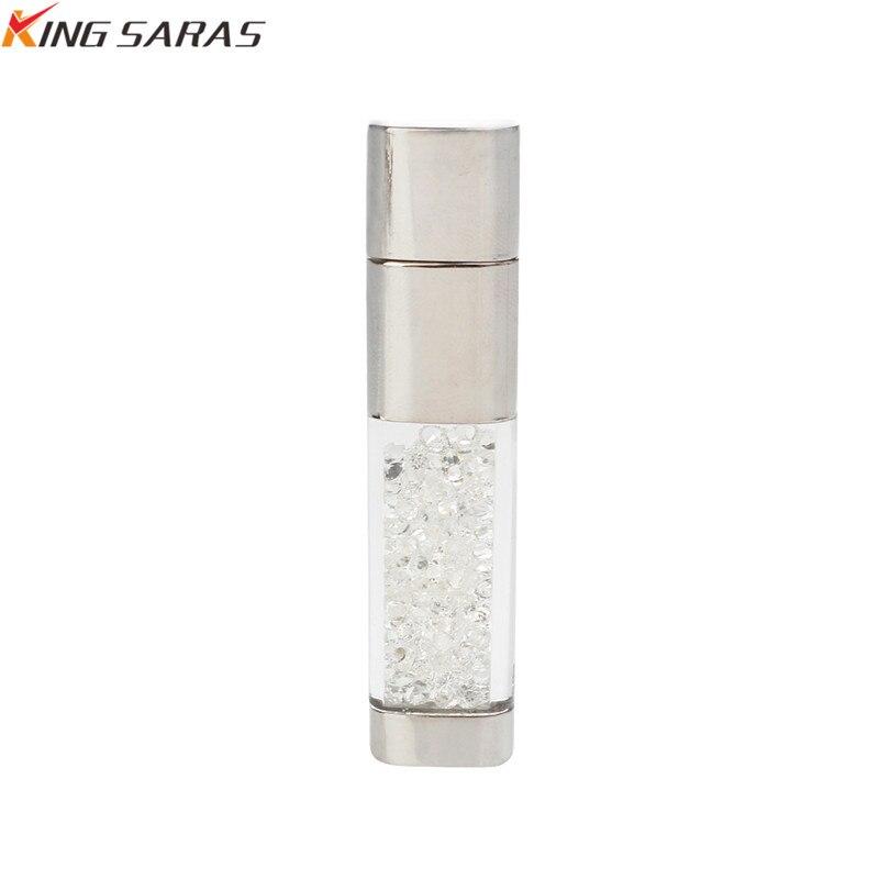 King Saras New Usb Flash Drive  Crystal Pen Drive 4GB 8GB 16GB 32GB Metal USB 2.0  Pendrive 64GB 128GB For Gift Free Custom Logo (2)