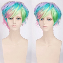 Fashion Cheap Colorful Short Man Wig Synthetic Hair Rainbow Color Halloween Costume Party Role Anime Cosplay Wigs + Cap