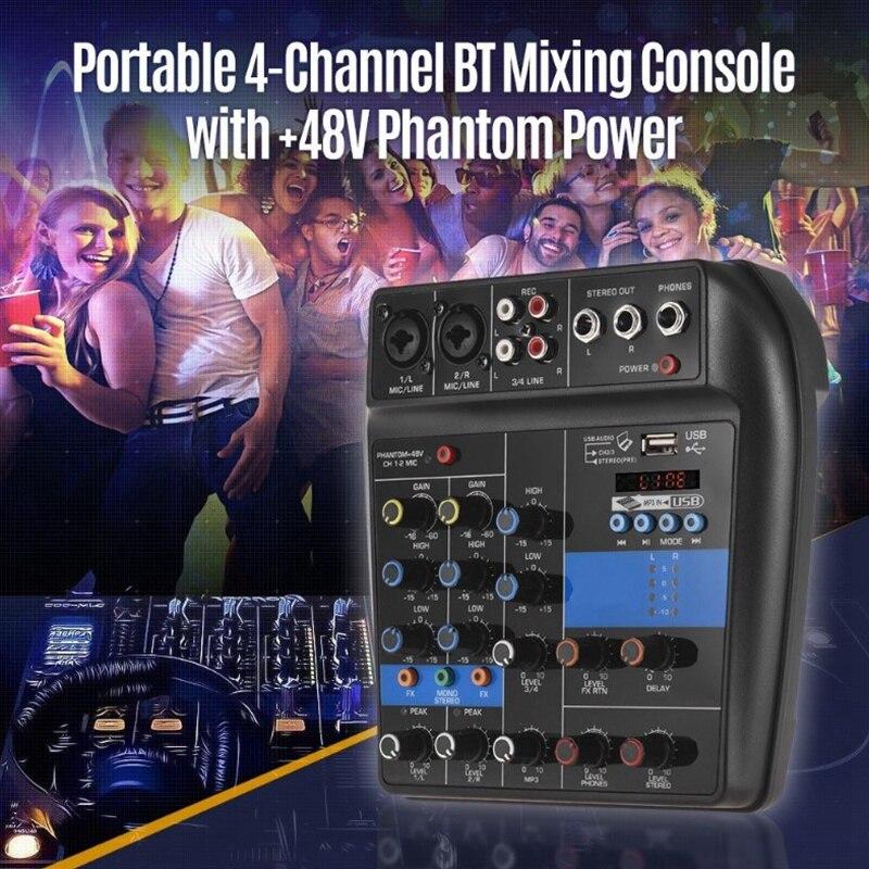 console áudio mixer registro 48 v efeitos