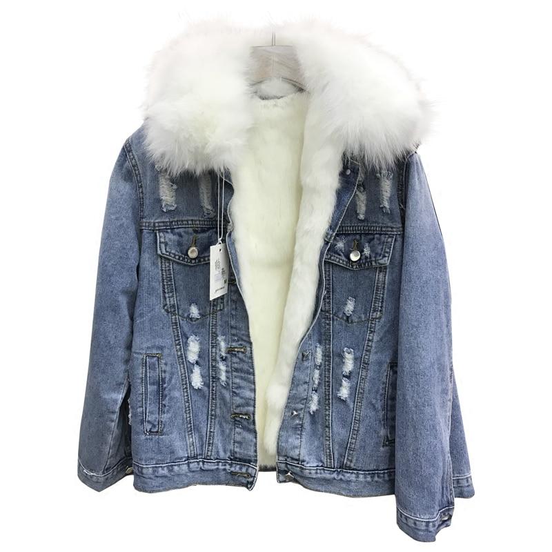 Корейская зимняя женская парка с дырками джинсовая куртка пальто 2018 натуральный Лисий мех воротник толстый натуральный кроличий мех Внутр