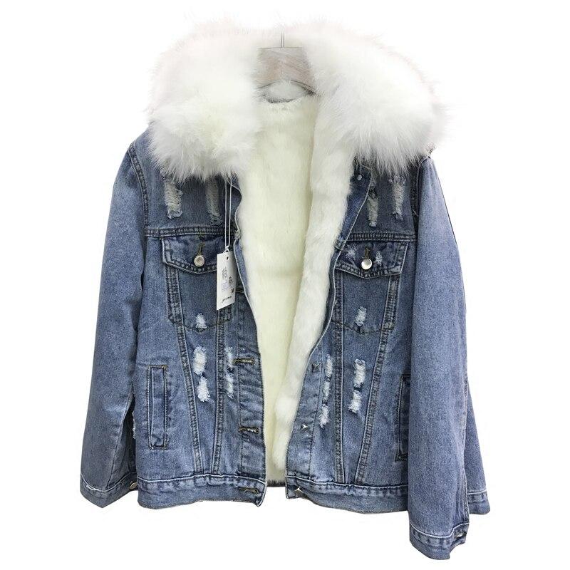 Корейская зимняя женская парка с дырками, джинсовая куртка, пальто 2018, Воротник из натурального Лисьего меха, толстая внутренняя джинсовая женская куртка из натурального кроличьего меха