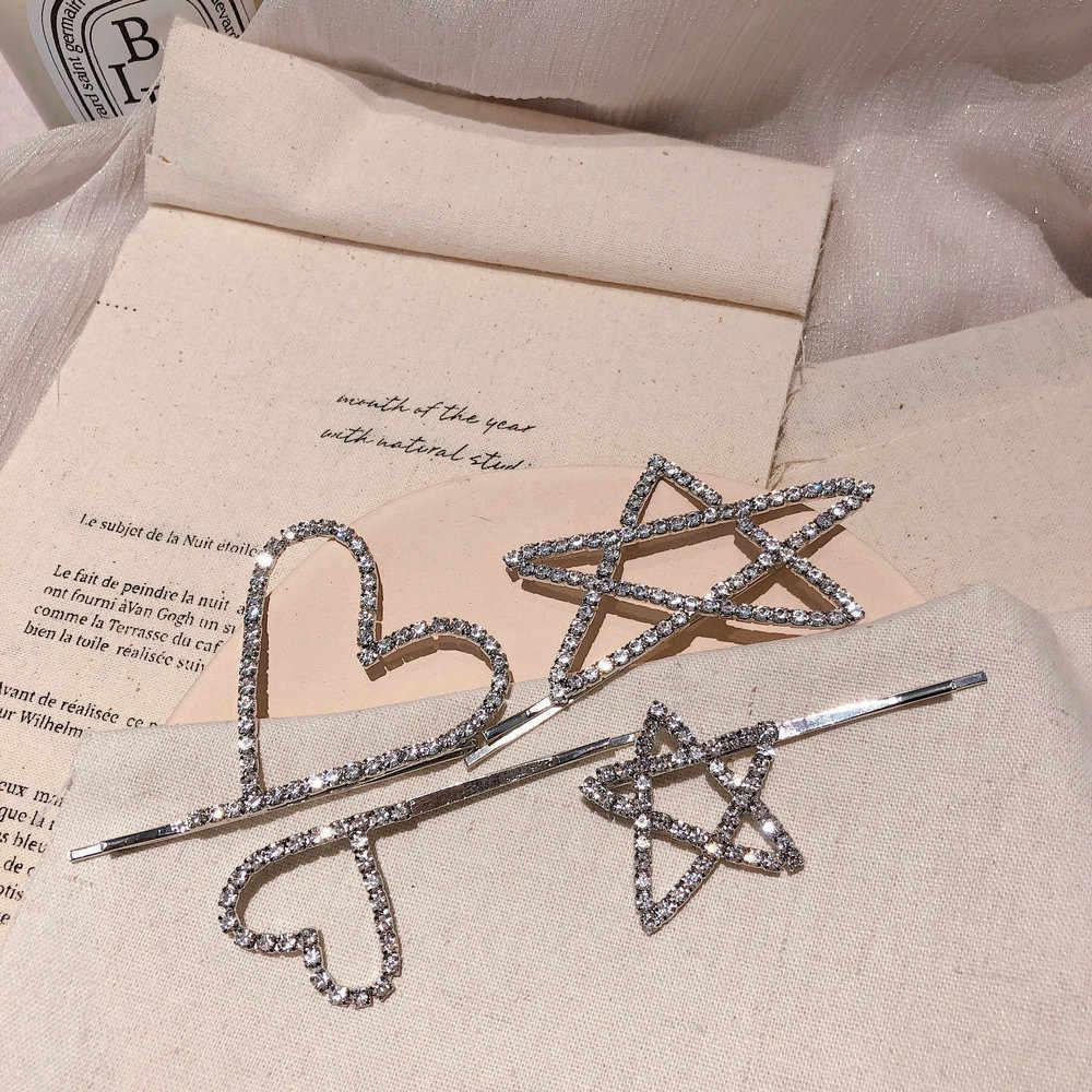 Fashion In Kristal Berlian Imitasi Jepit Rambut Jepit Bobby Pin Rambut Pernikahan Cinta Pentagram Alat Logam Rambut Klip untuk Wanita Wanita