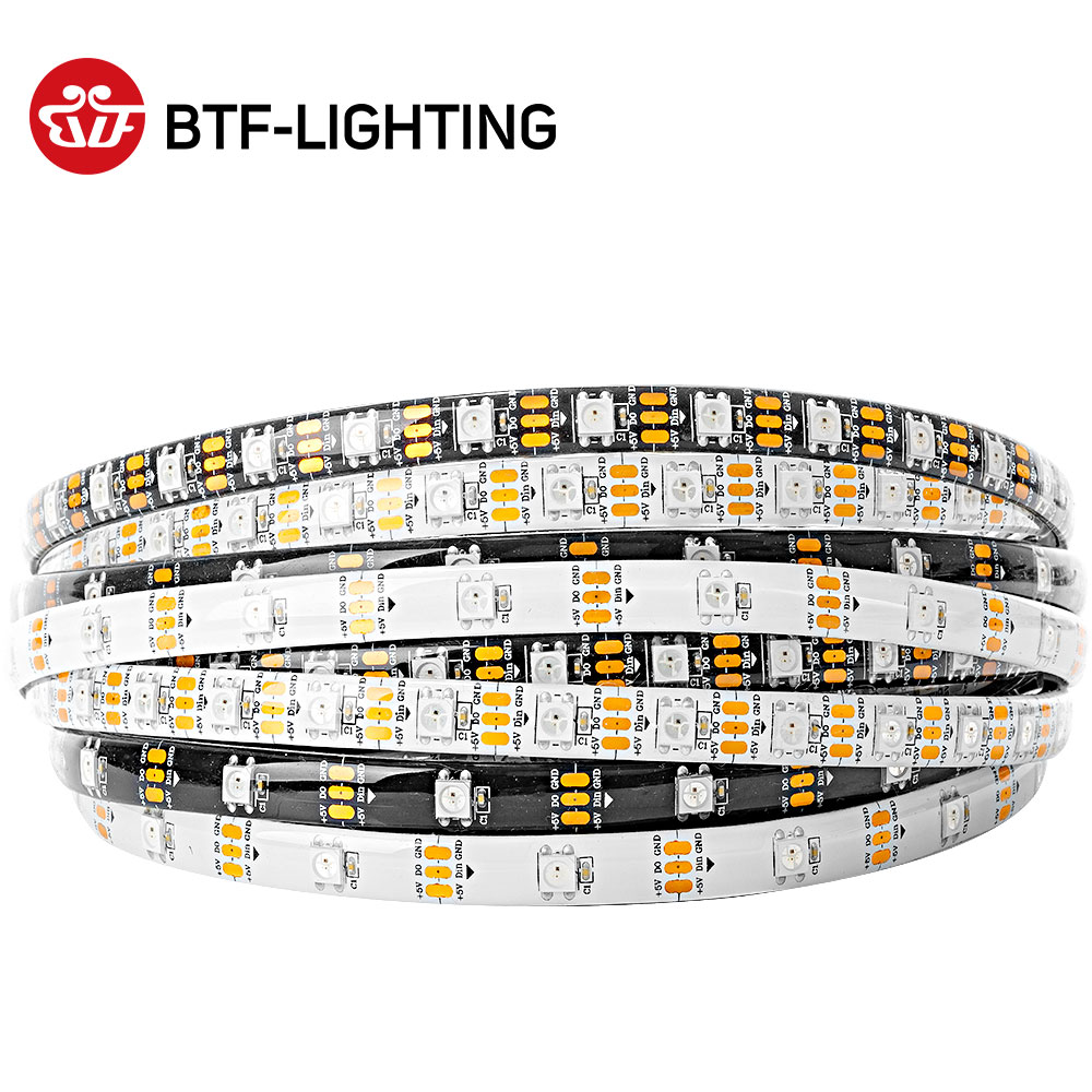 ws2812b 1m / 4m / 5m 30/60/100 / 144leds / m 2812 הוביל רצועת IP30 / IP65 / IP67 Waterproof שחור PCB / לבן PCB DC5V