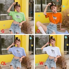 Womens Casual Fashion Round Neck Cartoon Cow Print Tee Short Sleeve Drawstring Ladies Crop Top T-Shirt