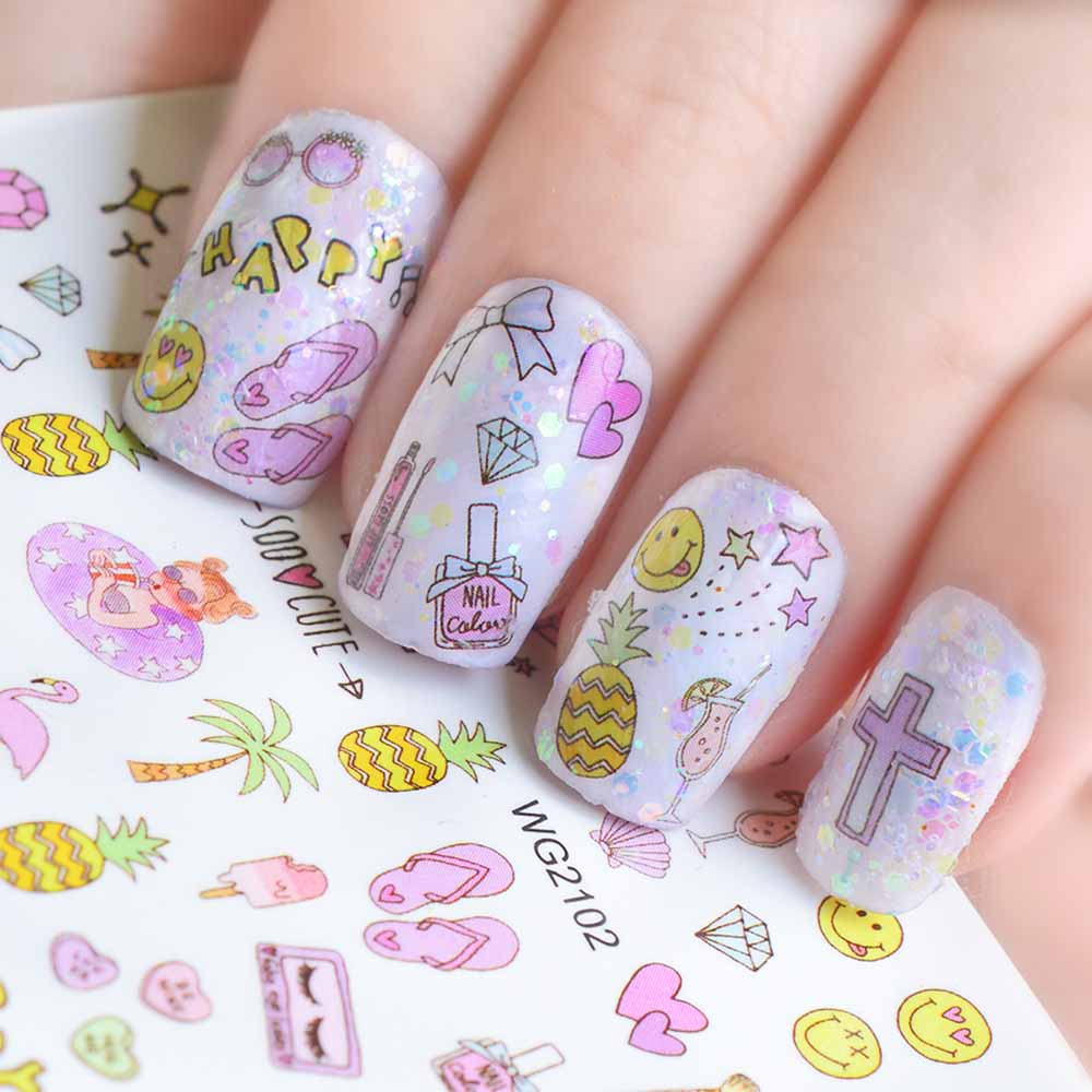 1pcs Mix Designs Sticker Nail Art Flowers Cartoon Unicorn Cat Lips Manicure Wraps Tip DIY Nail Water Transfer Decal Tool SAWG