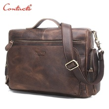 CONTACT'S 2017 New Genuine Leather Men Bag Vintage Totes Handbags Men Messenger Bags Briefcase Men's Travel Bags Shoulder Bag
