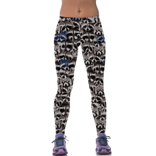 New 541 Sexy Girl leggins Cute animal raccoon koala Panda Warrior Printed Polyester Elastic Fitness Workout Women Leggings Pants