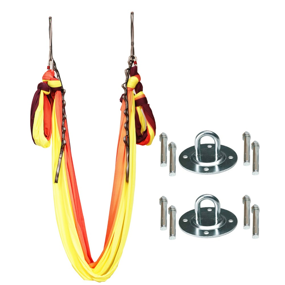 2018 Latest 5.5 yard Anti-gravity Aerial Yoga Hammock Pilates Swing Decompression Inversion Trapeze Yoga Gym strap Top Full Set leisure decompression hammock inversion trapeze anti gravity aerial traction yoga gym swing hanging daisy chain carabiners