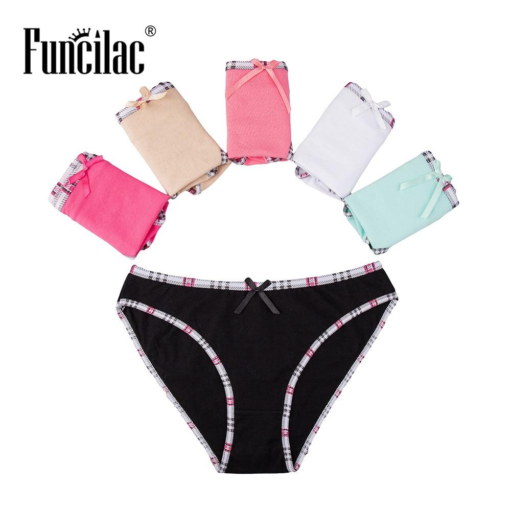 Buy FUNCILAC Brand  Woman Underwear Cotton Plaid Female Sexy Panties Briefs Knickers Intimates Lingerie Women 5pcs/lot