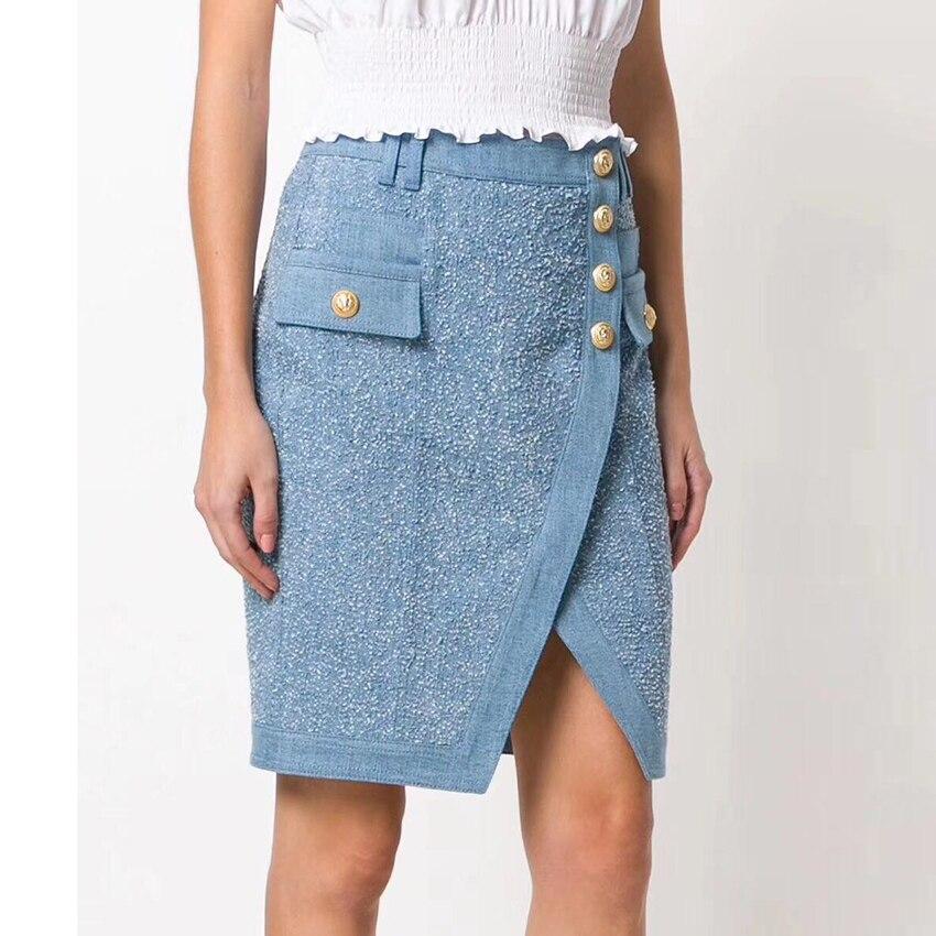 EXCELLENT QUALITY Designer Stylish Skirt Women's Lion Buttons Embellished Tassel Asymmetrical Denim Skirt