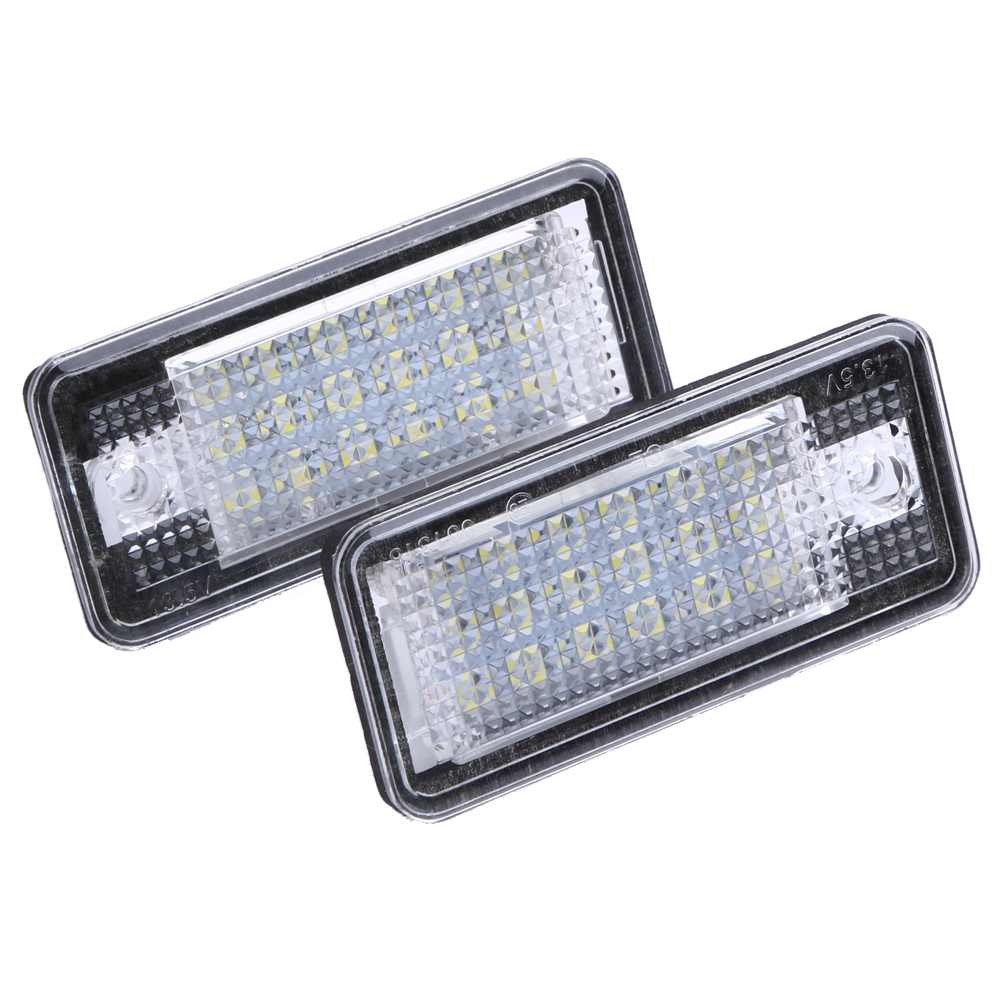 2PCS 18 LED Car LED License Number Plate Light Lamp Automobiles Error Free OBD Lighting for Audi A3 A4 A6 A8 B6 B7 S3 Q7 RS4 RS6 2pcs car error free 18 led license number plate light white lamp for audi a3 s3 a4 s4 b6 b7 a6 s6 a8 q7