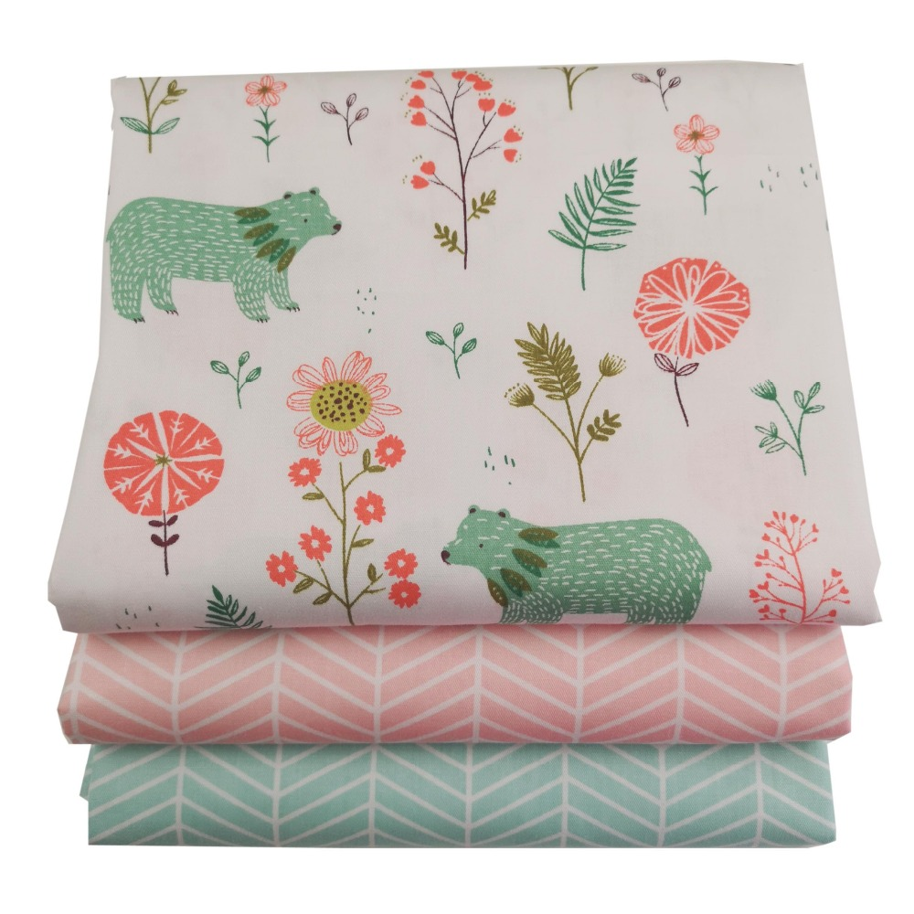 Syunss Diy Patchwork Cloth For Quilting Baby Cribs Cushions Dress Sewing Tissus Animal Forest Printed Twill Cotton Fabric Tecido