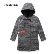 ChanJoyCC Winter Hot Sale Children's Coat Baby Boys Long Sleeve Fashion Black And White Striped Hooded Outerwear For Kids