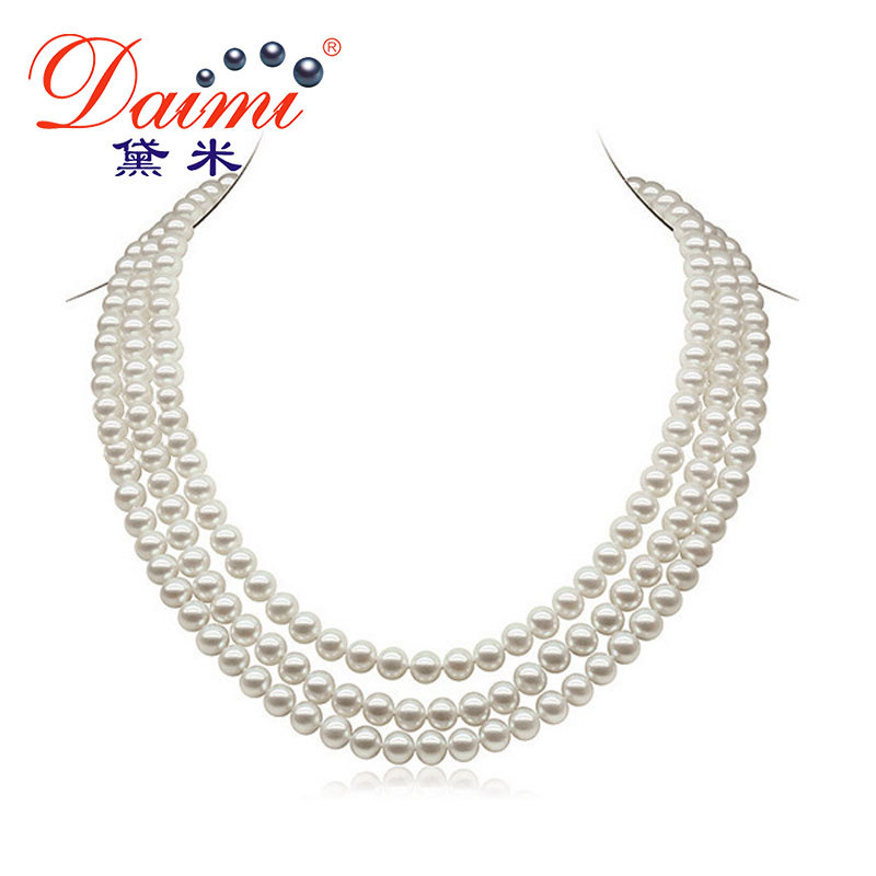 DAIMI 6 7mm Natural Pearl Necklace 3 Strands Round White Freshwater Pearl Necklaces Chunky Necklace