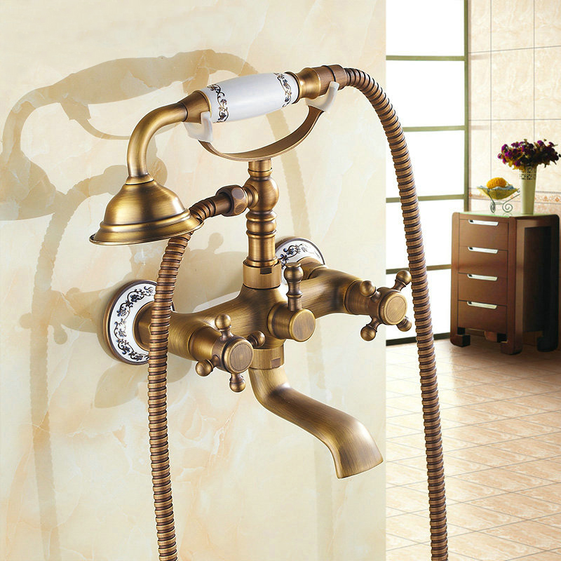 Classic Antique Style Telephone Set Bathroom Bath and shower Faucets Pattern Ceramic Handheld Shower Headwall mounted