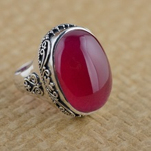 Red corundum ring S925 silver inlaid silver antique style female style simple atmospheric grass grain