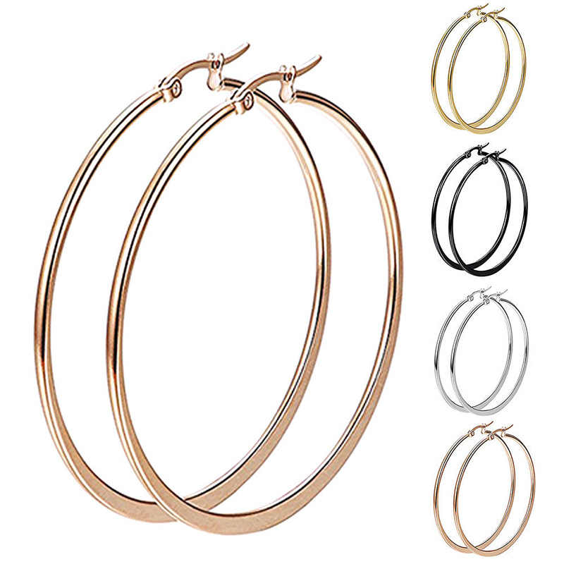 1 Pair Sexy Women Hypoallergenic Stainless Steel Rounded Smooth Big Large Hoop Earrings Jewelry 30-60mm