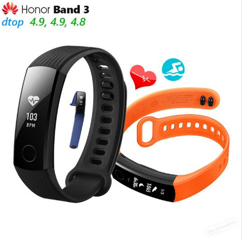 Huawei Honor Band 3 Smart Wristband Real-time Heart Rate Monitoring 5ATM Waterproof for Swimming Fitness Tracker for Android iOS edwo df23 smartband heart rate monitor waterproof swimming smart wristband health bracelet fitness sleep tracker for ios android